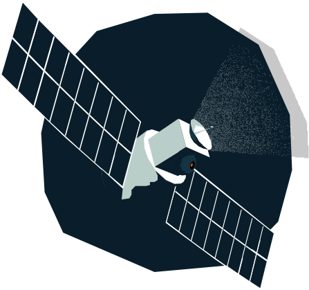 Vector graphic of a satellite in space, Market Intelligence Platform
