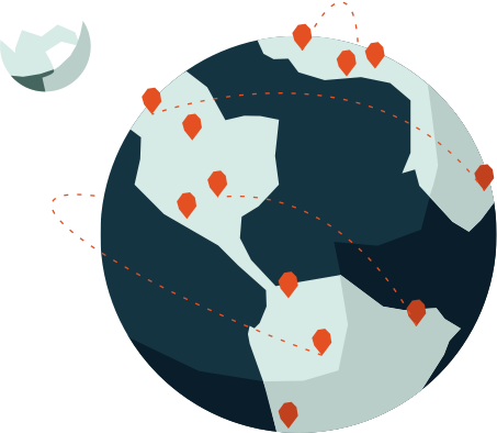 Vector graphic of the earth and moon, showing map pins on the earth, Market Intelligence Platform