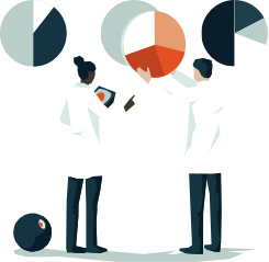 vector graphic of two people in white coats looking at pie chats, Market Intelligence Platform