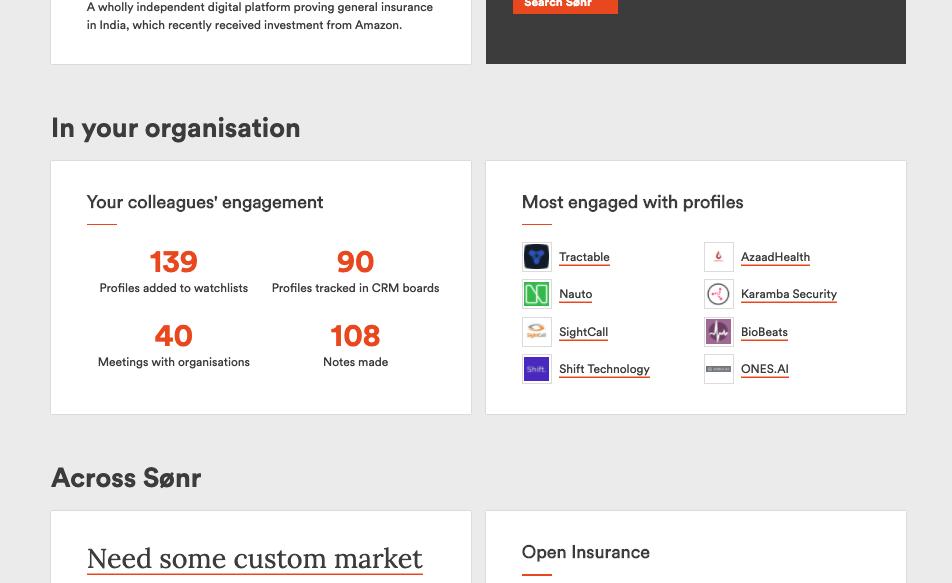 track of interesting startups