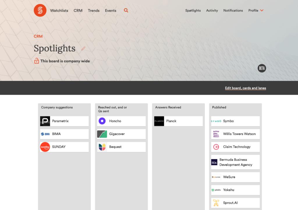 Research Team Spotlights CRM Screenshot